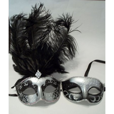 Silver Black feather His Hers Couple Combo Masquerade Mardi Gras Masks Man Woman