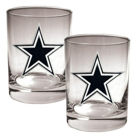 Dallas Cowboys 14oz. Rocks Glass Set - No (Cowboy Glasses)