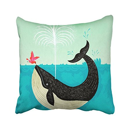 WinHome Cartoon Whale And Pink Bird Blue Sea Cute Design Painting Decorative Pillowcases With Hidden Zipper Decor Cushion Covers Two Sides 20x20 inches