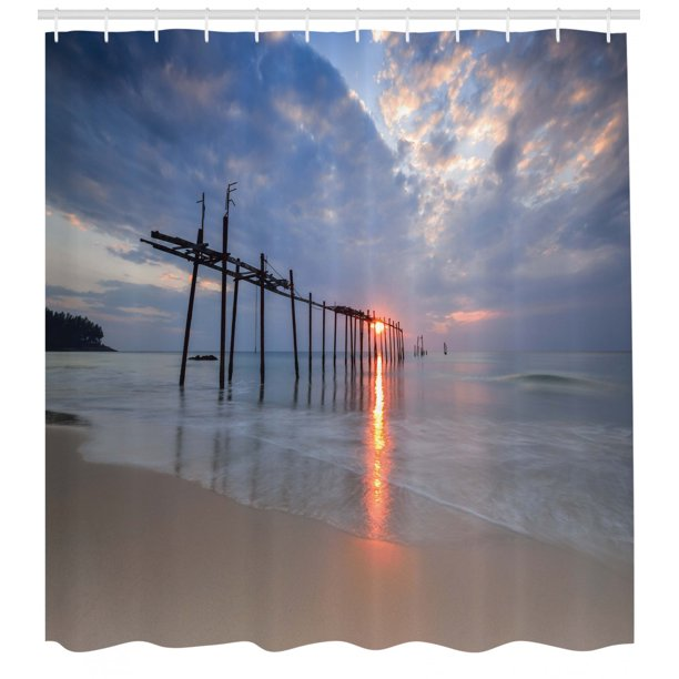 Nautical Shower Curtain Set Sunbeams And Old Bridge At Pilai Beach In Sunset Thailand Tropical Seascape Picture Bathroom Decor Gray Beige By Ambesonne Walmart Com Walmart Com