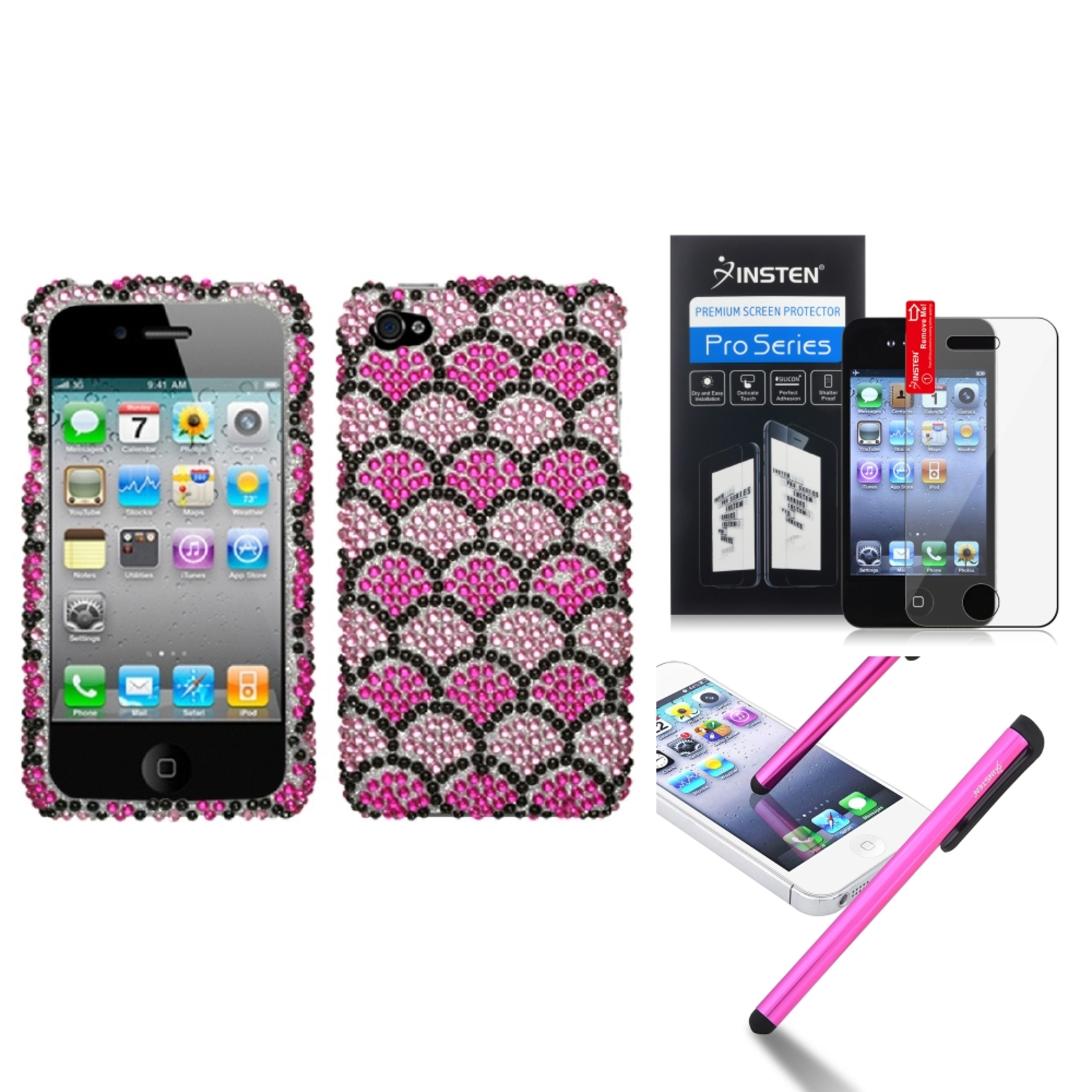 Insten Hot Pink Wavelet Diamond Case Bling Hard Cover For iPhone 4 4s LCD Film Pen
