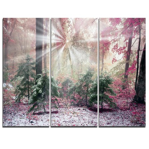 Design Art Purple Forest with Sun Rays - 3 Piece Graphic Art on Wrapped Canvas Set