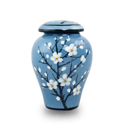 Ceramic Memorial Keepsake Urns - Extra Small 10 Pounds -  Blue Plum Blossom Small Memorial Urn