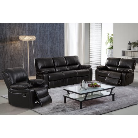 Evelyn 3 Pc Black Leather Gel Reclining Sofa Set With