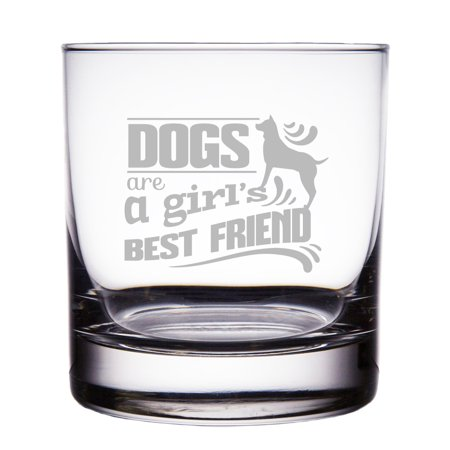 Dogs are a Girl's Best Friend Engraved 10 oz Rock