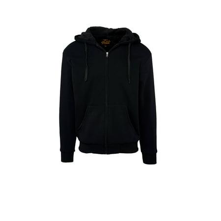 Fresh Groove Men's Zip Up Soft Inner Body Sherpa-Lined Fleece Hoodie Sweatshirt (Black, Small)