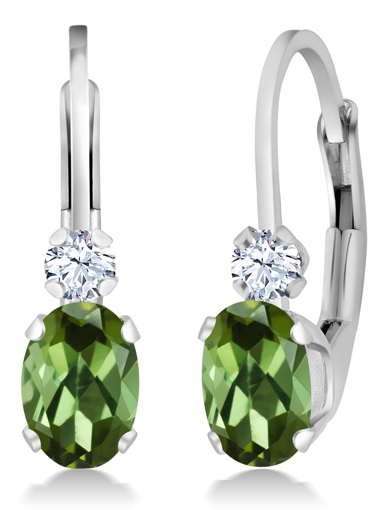 0.88 Ct Oval Green Tourmaline White Sapphire 925 Silver Leverback Earrings by