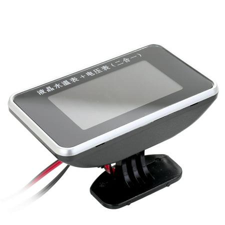 Car LCD Digital Display Water Temperature Meter Thermometer Voltmeter Gauge 2in1 Temp & Voltage Meter 1/8 10mm Thread Sensor - image 5 of 6