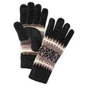 Isotoner Womens Black & Gray Chenille Snowflake Knit Gloves Fleece Lined