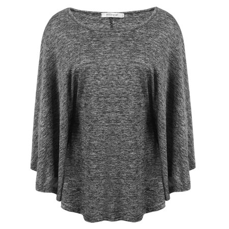 Elecmall Women Casual O-Neck Long Batwing Sleeve Pleated Elastic Loose Pullover Knit Top Blouses Elec Batwing Sleeve Knit Top