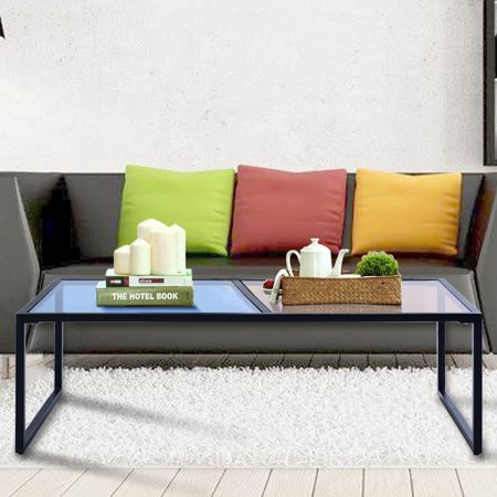 Rectangular Coffee Table (Gymax Tempered Glass Coffee Table with Metal Frame Living Room Furniture Rectangular )