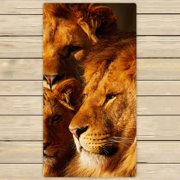 YKCG Sunset African Landscape Wildlife Animal Lions Hand Towel Beach Towels Bath Shower Towel Bath Wrap For Home Outdoor Travel Use 30x56 inches