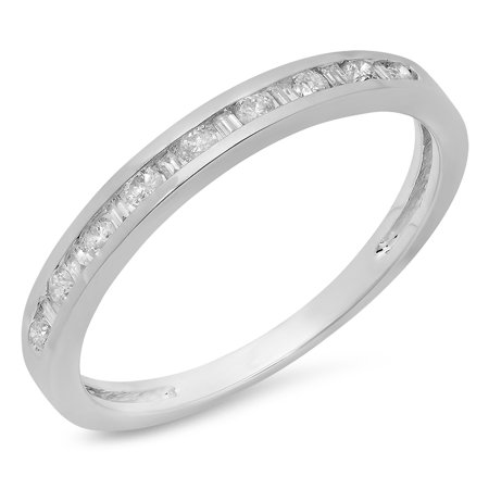 0.25 Carat (ctw) 14K Gold Baguette & Round Cut Diamond Ladies Anniversary Stackable Wedding Band 1/3 CT