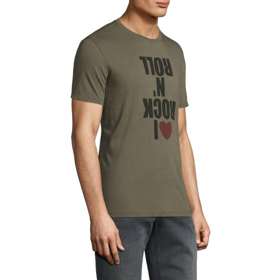 John Varvatos Star U S A  Mens I Love Rock N Roll Graphic T-Shirt S Green  Tee