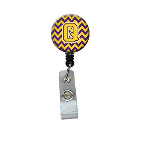 Carolines Treasures CJ1041-QBR Letter Q Chevron Purple & Gold Retractable Badge Reel, 5 x 1 x 2 in. - image 1 of 1