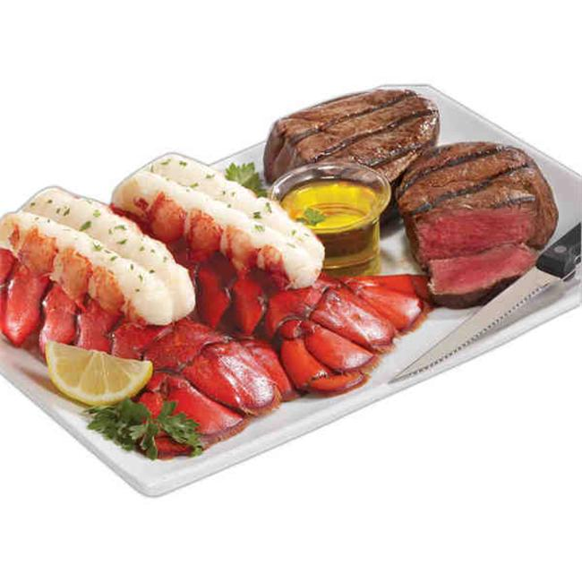 Lobster Gram M4FM2 Two 4-5 oz.  Maine Lobster Tails & Two 6 0z.  Filet Mignon Steaks