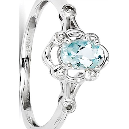 Sterling Silver Rhodium-plated Aquamarine & Diamond Ring - image 1 de 2