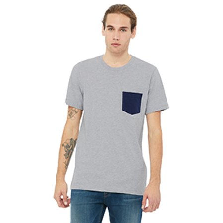 Bella 3021 Mens Jersey Short Sleeve Pocket Tee - Athletic Heather & Navy, Extra Large Extra Large Heather