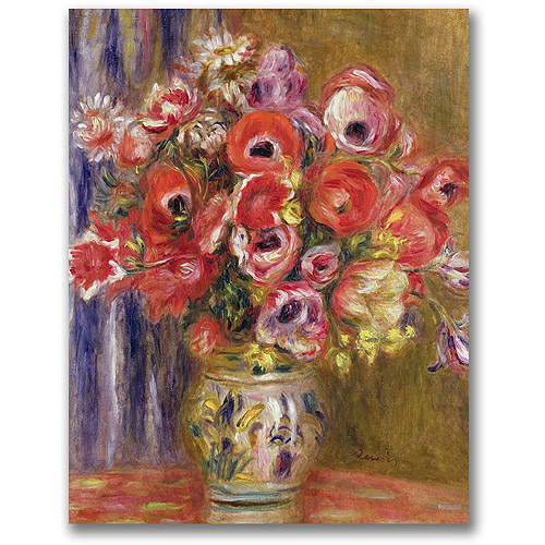 "Trademark Fine Art ""Vase of Tulips and Anemones"" Canvas Wall Art by Pierre Renoir"