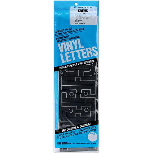 "Permanent Adhesive Vinyl Letters, 4"", Gothic"