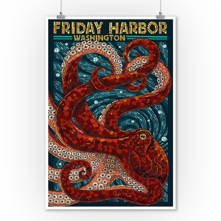 Friday Harbor, San Juan Island, Washington - Octopus Mosaic - Lantern Press Artwork (9x12 Art Print, Wall Decor Travel Poster)