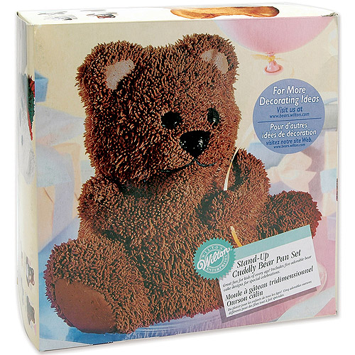 "Wilton Novelty 9.5""x8.6"" Shaped Stand-Up Cake Pan Set, Cuddly Bear 2105-603"