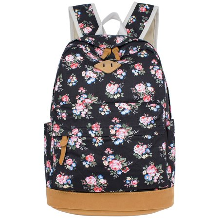 School Backpack, Flower Printed Canvas Casual Backpack Laptop Backpack Travel Backpack for Women -