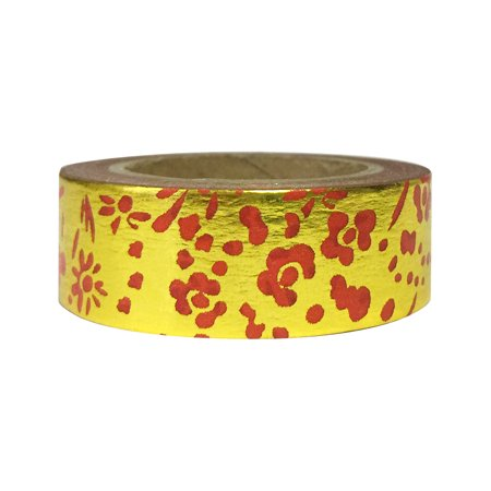 Wrapables® Colorful Washi Masking Tape, Metallic Gold and Red Floral - Floral Washi Tape