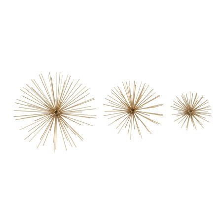 Decmode Set of Three - 6, 9, and 11 Inch Modern Golden Iron Star Wall Décor, Gold - Golf Decor