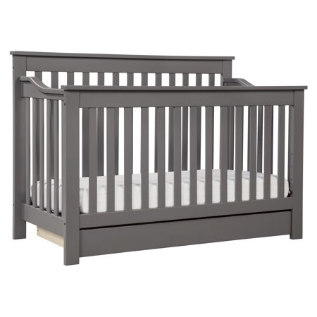 DaVinci Piedmont 4-in-1 Convertible Crib with Toddler Bed Conversion Kit in Slate Finish (Crib Toddler Conversion Kit)