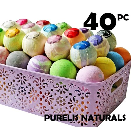 Unique Halloween Basket Ideas (Bath Bombs Gift Baskets for Women! Basket of 40 Moisturizing Spa Fizzers Lush Bombs, 40 Unique Organic Bath Bombs Set. Luxury Spa Basket to store in. Gift Idea for Wife,)