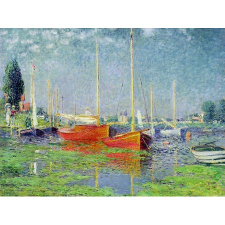Argenteuil, circa 1872-5 Sailboat Coastal Landscape Print Wall Art By Claude (Monet Sailboats)