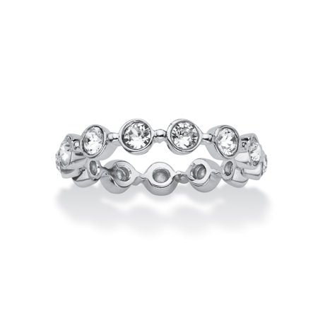 Round Birthstone Crystal Stackable Eternity Ring in .925 Sterling Silver - April- Simulated Diamond