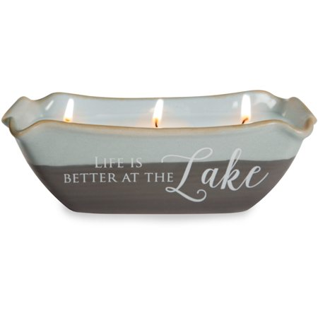 Pavilion - Life is Better at the Lake 3 Wick Ceramic Tranquility Scented Candle