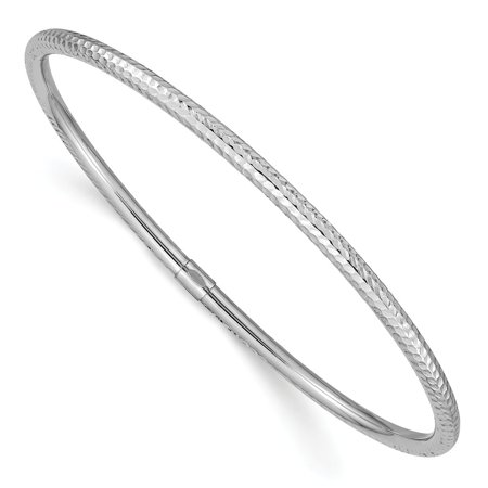 Roy Rose Jewelry 14K White Gold 3mm Diamond-cut Slip-on Bangle ~ Length ''
