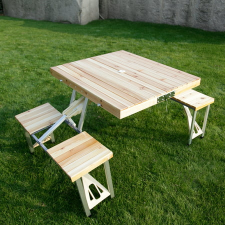 Kinbor Portable Folding Wooden Outdoor Kids Picnic Camping Table Garden Bbq With 4 Seats
