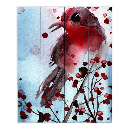 DiaNoche Designs Red Finch in Winter by Dawn Derman Painting Print on Wood Planks