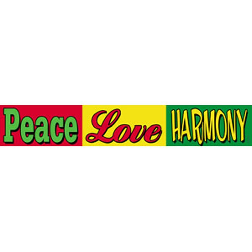 "REGGAE Peace Love Harmony, Officially Licensed Original Artwork, High Quality, 1.5"" x 9"" Die-Cut Vinyl Sticker DECAL"