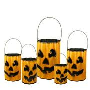 """9"""" Distressed Orange and Black Ridged Metal Jack 'O Lantern Container"""