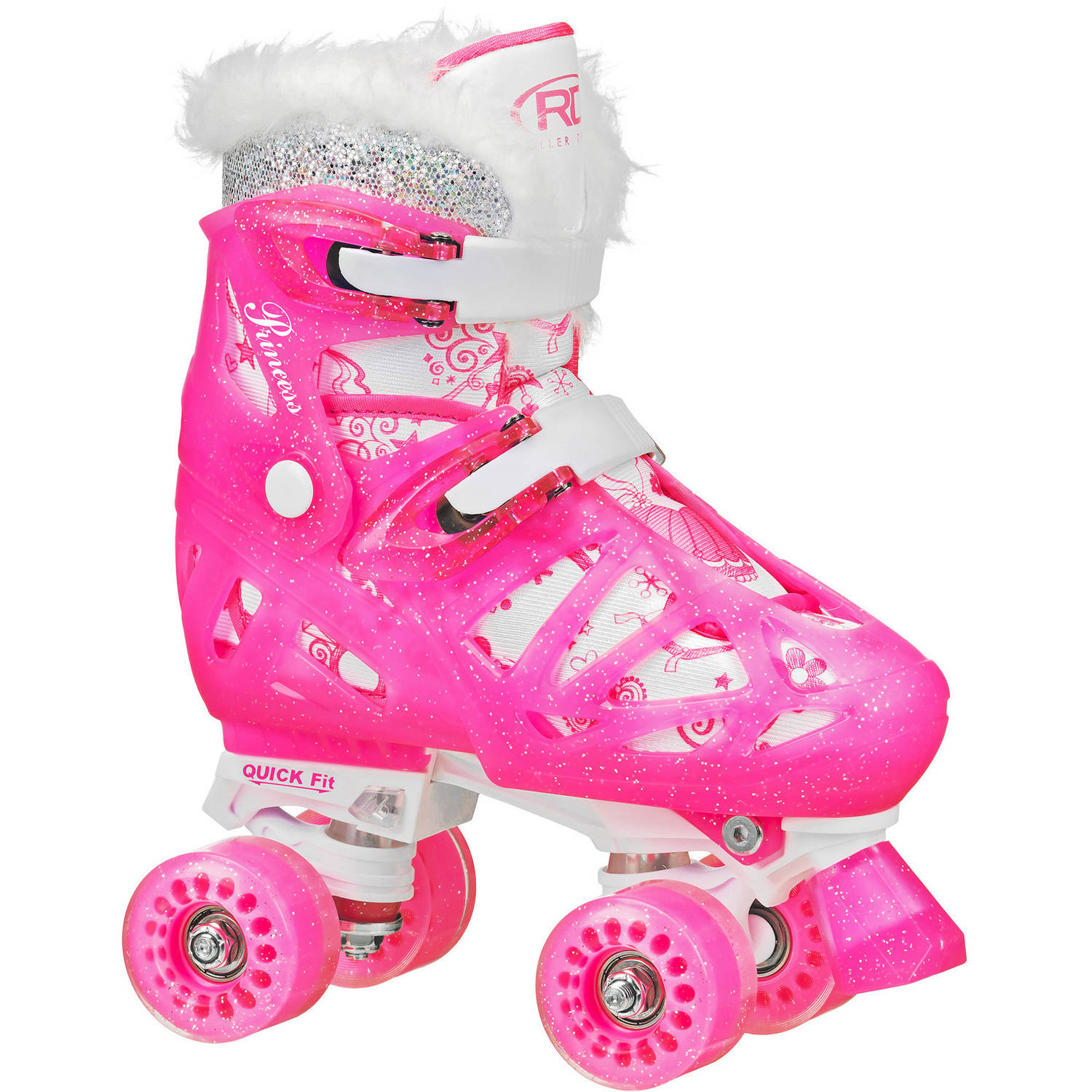 Roller Derby RD Quad Princess Girl Roller Skates, M, 3-6