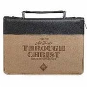 Christian Art Gifts 364189 Bible Cover-Classic And All Things - Large, Tan