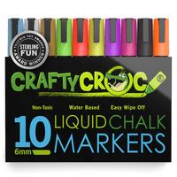 Crafty Croc Liquid Chalk Markers, Vibrant Neon Colors, 10-Pack