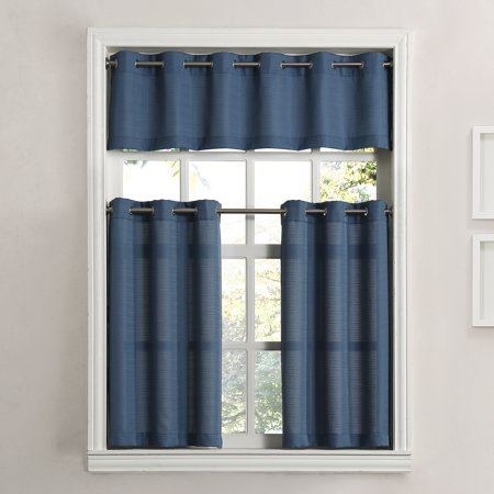 Mainstays Solid Grommet 3-Piece Kitchen Curtain Tier and Valance Set