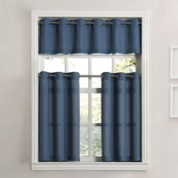 Product Image Mainstays Solid Grommet 3 Piece Kitchen Curtain Tier And Valance Set