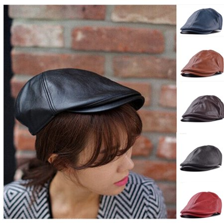 Men's Leather Ivy gentleman Cap Bonnet Newsboy Beret Cabbie Gatsby Flat Golf Hat,black color - Black Cabbie Hat