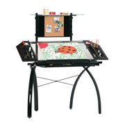 Studio Designs Futura Tower Adjustable Drafting Table Drawing Desk, Black / Clear Glass