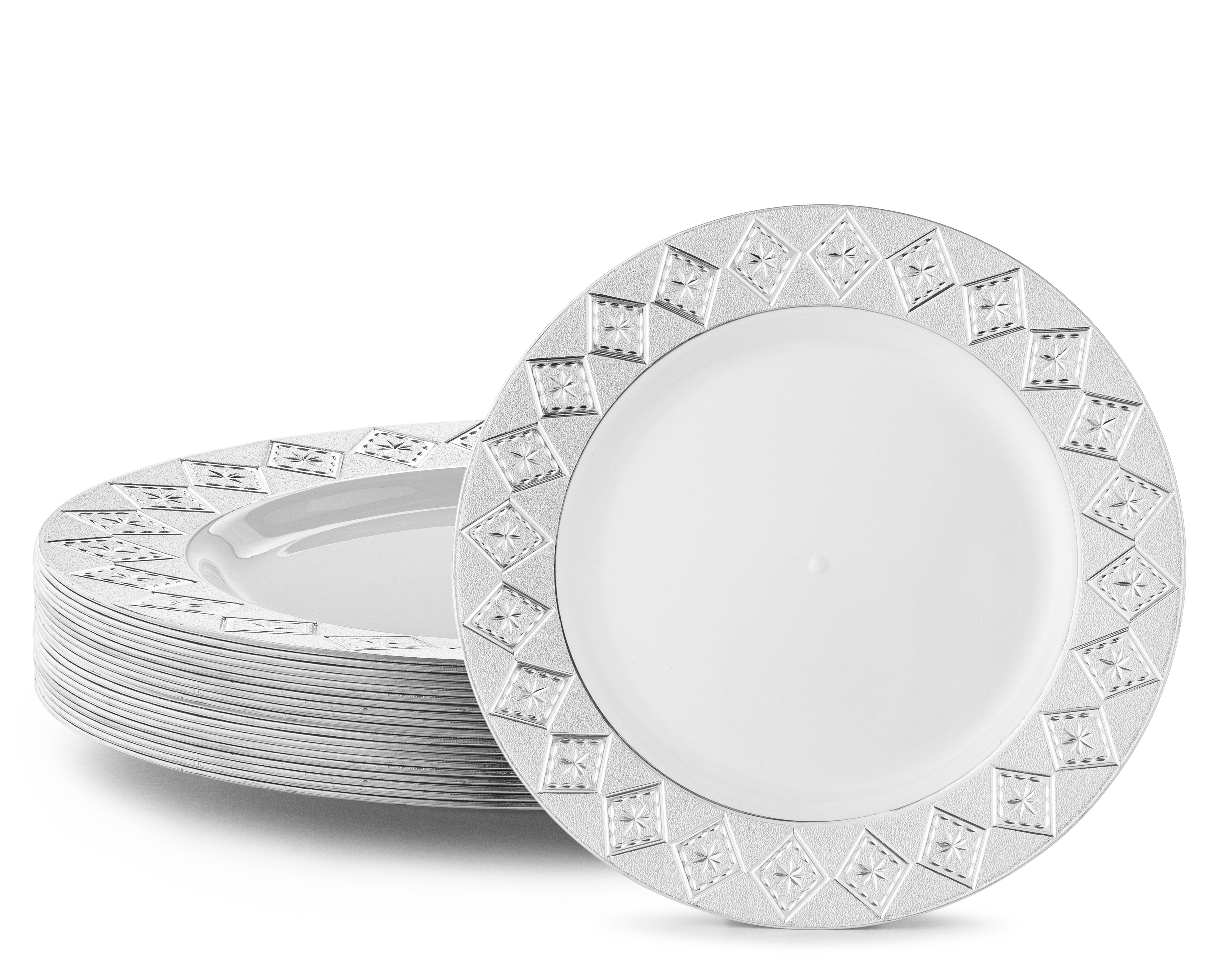 VINTAGE PLASTIC PARTY DISPOSABLE PLATES | 10.25 Inch Hard Round Wedding Dinner Plates | White with  sc 1 st  Walmart & VINTAGE PLASTIC PARTY DISPOSABLE PLATES | 10.25 Inch Hard Round ...