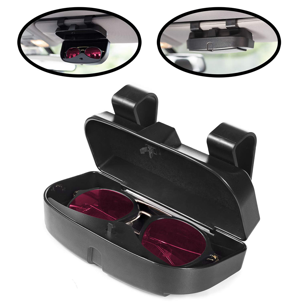 EXAUTOPONE 2 Pack Glasses Holders for Car Sun Visor Sunglasses Eyeglasses Mount with Ticket Card Clip