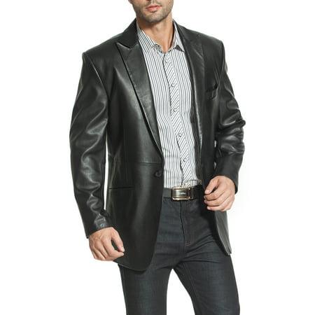 BGSD Men's Judd 1-Button Lambskin Leather Blazer (Short)