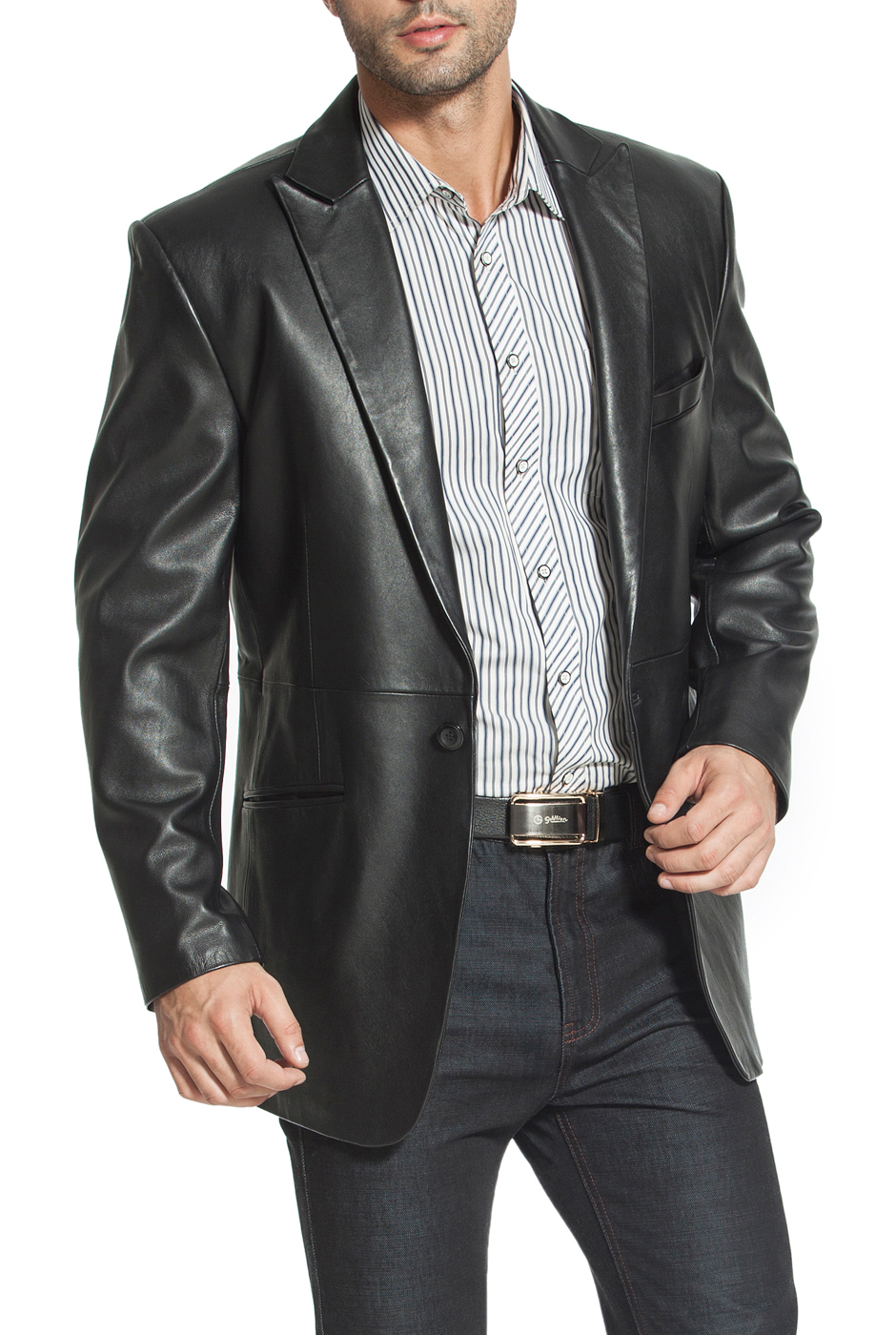 "Men's ""Judd"" One-Button Lambskin Leather Blazer - Big & Tall"